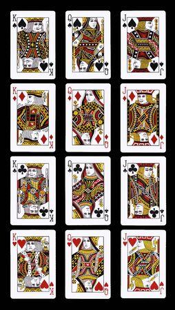 Poker JQK jugando a las cartas aislado en negro Editorial