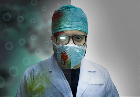 Creepy Murderous Infacted Zombie Doctor With Blood Stains In A Pandemic - Good And Bad