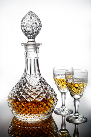 decanter: crystal decanter drink glasses Stock Photo