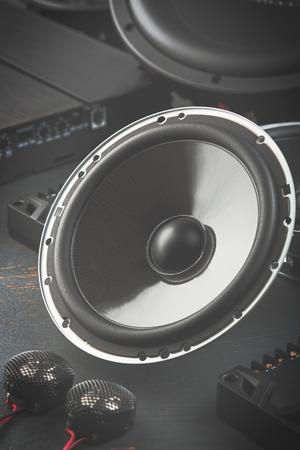 Car audio, car speakers. Stock Photo