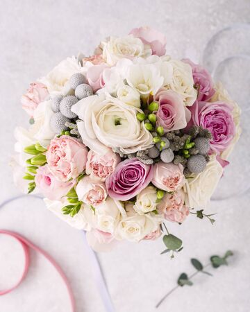wedding brides bouquet. vintage toned picture. Light background Banco de Imagens