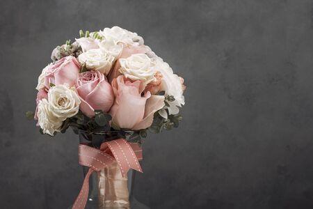 wedding brides bouquet. vintage toned picture. Dark background Banco de Imagens