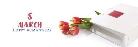 Bouquet of red tulips. 8 march womens Day greeting card. Banner. Isolated white background.