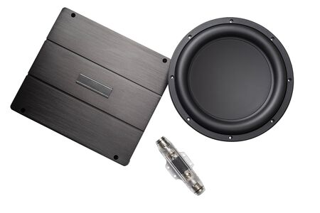 car audio, car speakers, subwoofer and accessories for tuning. Top view. Isolated white background