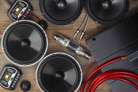 car audio, car speakers, subwoofer and accessories for tuning. Top view.