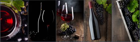 Wine collage. Red wine bottle and wine glass on different backgrounds, photo collage banner