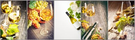 Wine collage. White wine bottle and wine glass on different backgrounds, photo collage banner