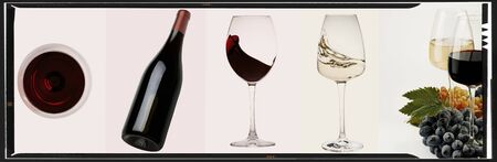 Wine collage. Red and white wine bottle and wine glass on different backgrounds, photo collage banner
