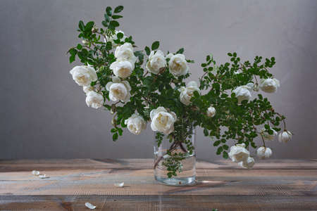 White flowers of dog roses or rosehip on green leaves background in a glass vase on a wooden table.