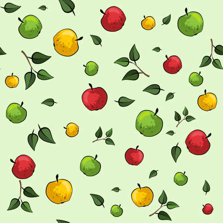 jaune rouge: Apple seamless pattern with red, yellow and green apples and leaves