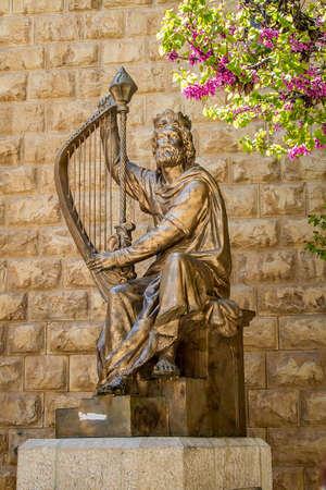 house of god: JERUSALEM, ISRAEL - APRIL 4, 2015: Monument of King David with the harp in Jerusalem, Israel on April 4, 2015