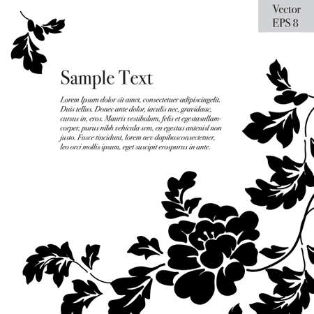 Peonies text frame  black flowers on a white background Illustration