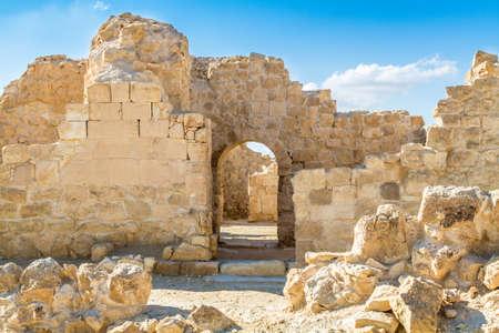 �pices: Shivta - une ville nabat�enne sur l'ancienne route des �pices dans le d�sert du N�guev d'Isra�l Banque d'images