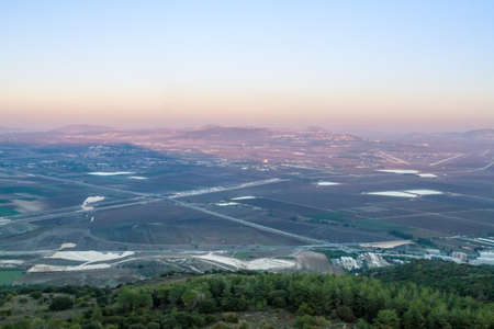 valley view: Jezreel Valley, view from Mount Carmel in sunset light, Israel