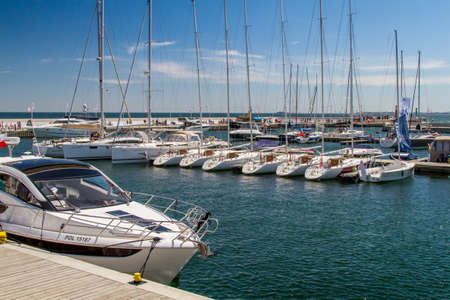 dinghies: SOPOT, POLAND - JULY 22: Boats moored at the berth in Sopot, Poland on July 22, 2015 Editorial