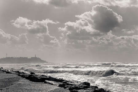 cloudy day: View of the Mediterranean sea and the Old city of Jaffa on cloudy day, Israel