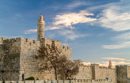 kingly: The Tower of David, near the Jaffa Gate of the Old City in Jerusalem, Israel. Sunset light Stock Photo