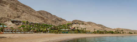 sharm: EILAT, ISRAEL - MAY 2: Beach in gulf of Aqaba in the Red Sea in Eilat, Israel on May 2, 2014