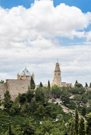 institute is holy: JERUSALEM, ISRAEL - OCTOBER 12: View of the Dormition Abbey and the Institute for the Study of the Bible, outside the walls of the Old City in Jerusalem, Israel on October 12, 2015 Editorial