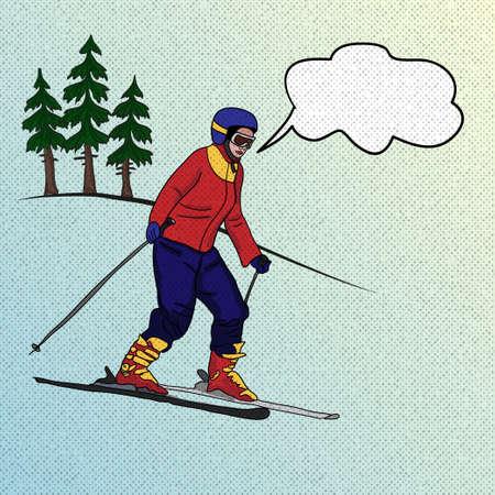 Girl skier on downhill. Winter sport. Vector illustration Illustration