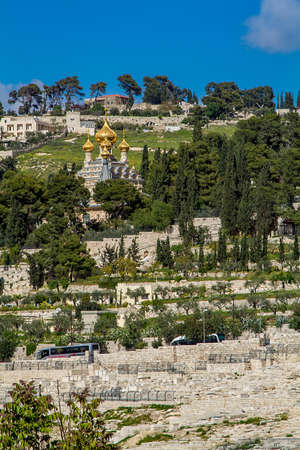 pilgrim journey: Russian Orthodox Church of St. Mary Magdalene on the Mount of Olives in Jerusalem