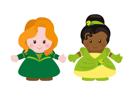 fairytale: Two princesses. Vector illustration of fairy-tale characters in cartoon style. Illustration