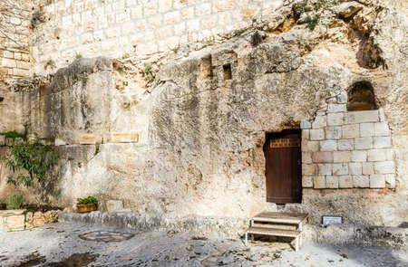 jerusalem: Entrance to the Garden Tomb in Jerusalem, Israel Stock Photo