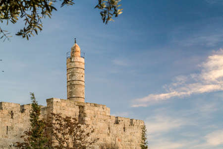 kingly: The Tower of David, near the Jaffa Gate of the Old City in Jerusalem, Israel. Sunset light Editorial