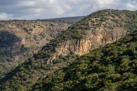 mountainous: Mountain landscape, view of the mountainous area of Upper Galilee,Israel