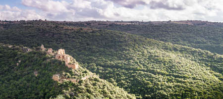 nahal: Mountain landscape, view of the Montfort Castle in Upper Galilee,Israel