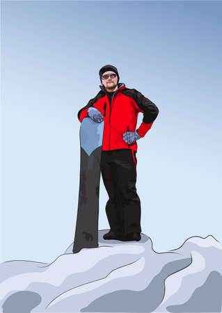 Snowboarder stands on top of a hill. Winter sport. Vector illustration Illustration