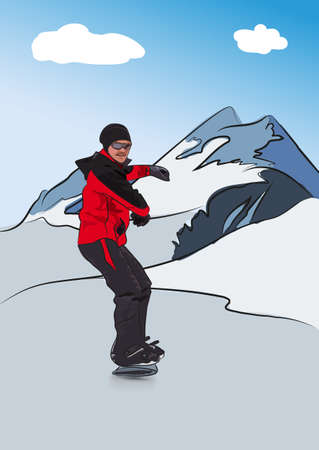 bindings: Snowboarder on downhill. Winter sport. Vector illustration Illustration