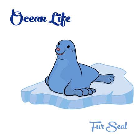 Ocean life. Fur Seal op het pakijs. Vector illustratie.
