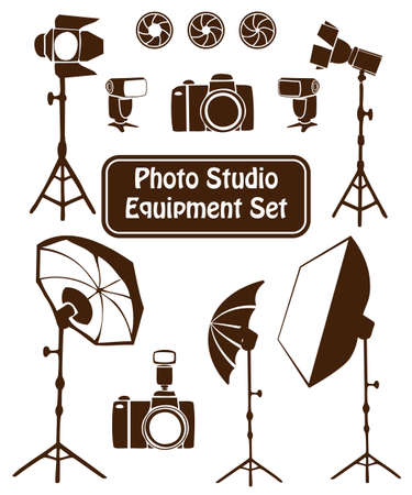 strobe light: Photo studio equipment cartoon set. Vector illustration Illustration