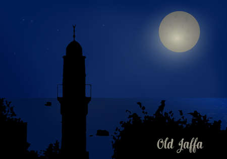 minaret: Silhouette of minaret in Old Jaffa near the sea, against a blue background of the night sky. Vector illustration.