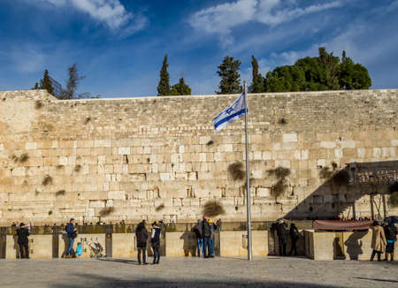 prayer tower: JERUSALEM, ISRAEL - JANUARY 5: Western Wall prayer section, Temple Mount, sunset light in Old City of Jerusalem, Israel on January 5, 2016 Editorial