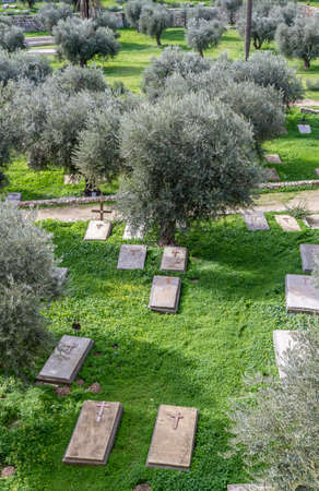 nations: The old Christian cemetery near the St. Stephens Church and the Church of All Nations in Jerusalem, Israel