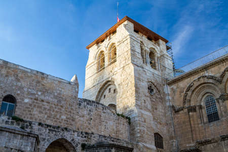 dolorosa: Bell tower of Church of the Holy Sepulchre in Jerusalem, Israel