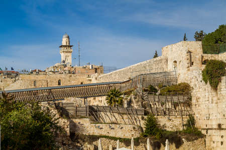 temple mount: JERUSALEM, ISRAEL - JANUARY 5: The Wooden Mughrabi Bridge leading up to the Temple Mount through the Mughrabi Gate in Old City of Jerusalem, Israel on January 5, 2016