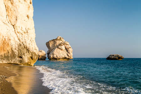 tou: Petra tou Romiou or Aphrodites Rock, mythical birthplace of Aphrodite, the Greek goddess of love and beauty, sea stack in Paphos, Cyprus Stock Photo
