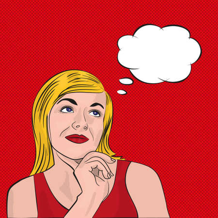 dreaming girl: Blonde girl dreaming. Pop art with the speech bubble on red background. Vector illustration in comic style Illustration