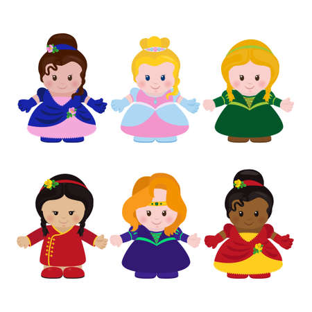 nationality: Set of six funny little princesses different nationality in cartoon style. Vector illustration.