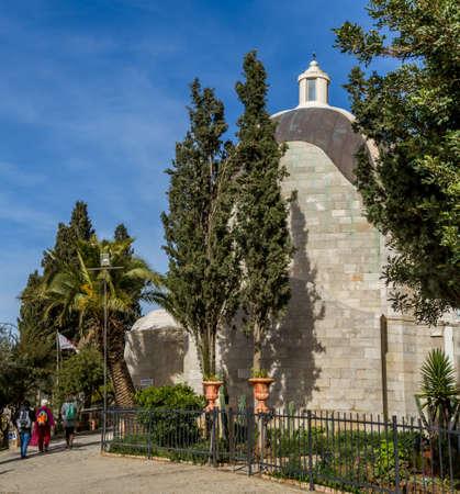 roman catholic: JERUSALEM, ISRAEL - JANUARY 5: The Sanctuary of the Dominus Flevit, Roman Catholic church on the Mount of Olives, Old City of Jerusalem, Israel on January 5, 2016