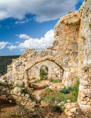 galilee: The ruins of the Montfort Castle in the mountainous area of the Upper Galilee, Israel Stock Photo
