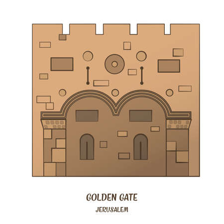 old city: Golden Gate in Old City of Jerusalem. Vector illustration.