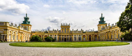 wilanow: WARSAW, POLAND - JUNE 1: Panorama of the Wilanow Palace or Wilanowski Palace with park in Warsaw, Poland on June 1, 2014 Editorial