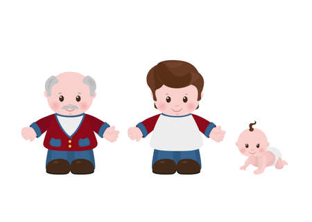 older men: Three generations of men of different ages, older man, young man, child.