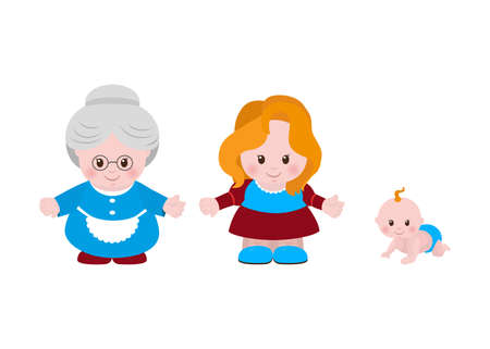 three generations of women: Three generations of women of different ages, older woman, young woman, little girl.
