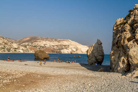 tou: Petra tou Romiou or Aphrodites Rock, mythical birthplace of Aphrodite, the Greek goddess of love and beauty, sea stack in Paphos, Cyprus Editorial