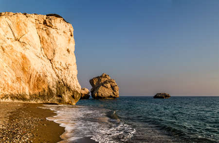 mythical: Petra tou Romiou or Aphrodites Rock, mythical birthplace of Aphrodite, the Greek goddess of love and beauty, sea stack in Paphos, Cyprus Stock Photo